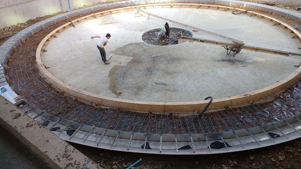 Foundations for Rotary Parlour with shuttering